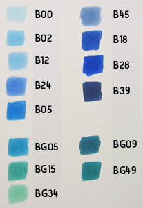 copic color chart blauw