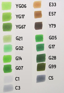 copic color chart groen