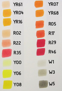 copic color chart oranje